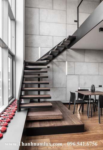 Mẫu cầu thang bay đẹp, cầu thang cắm tường đẹp MS01