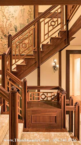 Mẫu cầu thang gỗ đẹp cho biệt thự